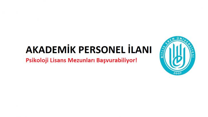 Bitlis Eren Üniversitesi Akademik Personel İlanı!
