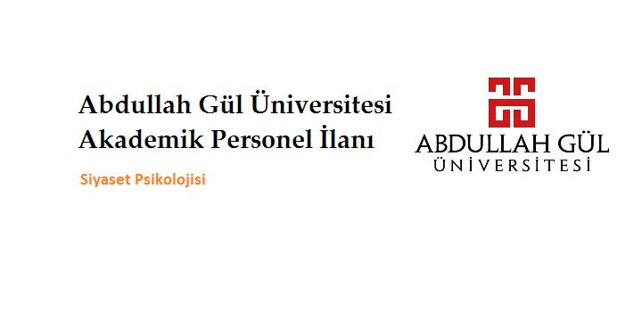 Abdullah Gül Üniversitesi Akademik Personel İlanı