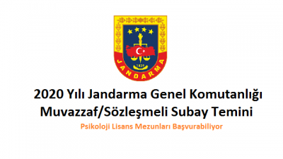 2020 Yılı Jandarma Genel Komutanlığı Muvazzaf/Sözleşmeli Subay Temini